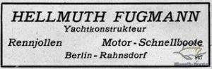 Anzeige in Yacht 12/1920 von Hellmuth Fugmann